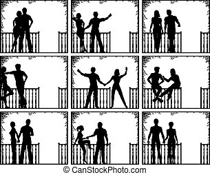 Porch people - Set of editable vector illustrations of...