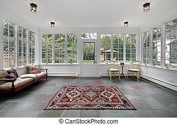 Porch with bluestone tile - Porch in suburban home with...