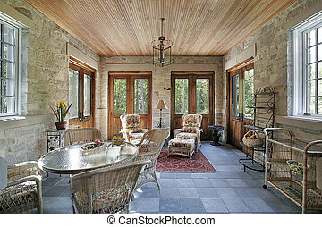 Porch with slate flooring - Porch with stone walls and slate...