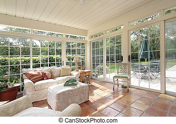 Porch with spanish tile - Porch in suburban home with...