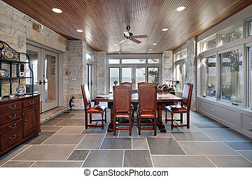 Porch with stone walls and slate floors - Large porch with...