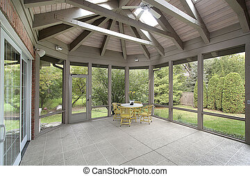 Porch with wood ceiling