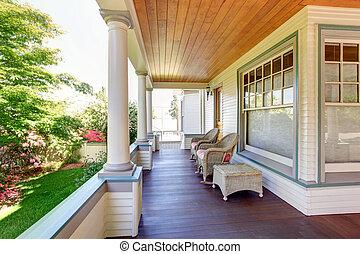 porche, artisan, chaises, home., colonnes