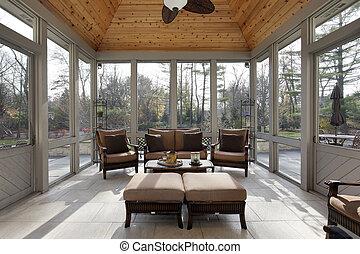 porche, dans, maison luxe