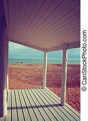 porche, maison, filtre, fond, vendange, plage blanche
