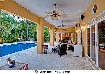 porche, piscine, natation