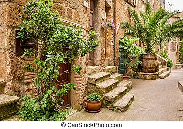 porches, entiers, de, fleurs, rue, dans, toscane