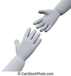porción, 3d, manos