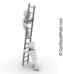 porción, a, subida, el, escalera