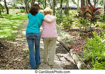 porción, abuela, caminata