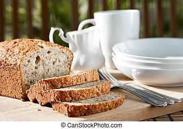 porción, bowls., comida, cortar, ajuste, plátano, bread