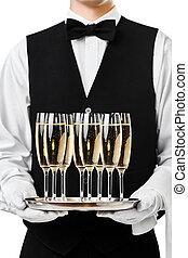 porción, camarero, bandeja, champaña