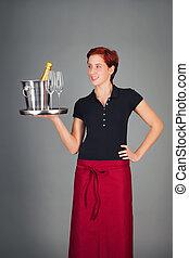 porción, champaña, camarera