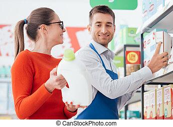 porción, cliente, oficinista, supermercado