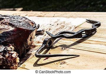 porción, cocido al horno, de madera, entero, fijación, negro, parrilla, precast, picante, pedazo, hierro, tabla, carne