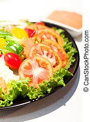 porción, de, sano, vegetal, s, ensalada