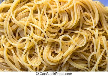porción, espaguetis