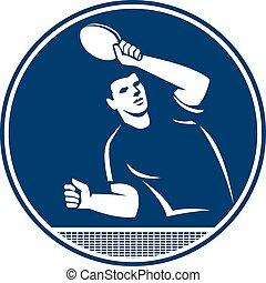 porción, jugador del tenis, tabla, círculo, icono