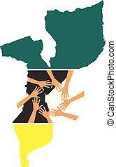 porción, mapa, mozambique, manos