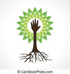 porción, marca, árbol, mano