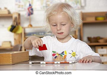 porción, montessori/pre-school, niños, adulto joven