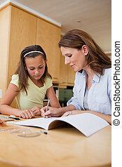 porción, mujer, hija, deberes