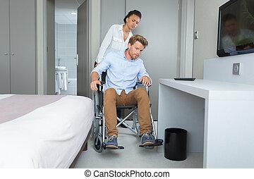 porción, socio, sílla de ruedas, mujer, ella