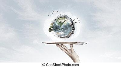 porción, tierra, planeta