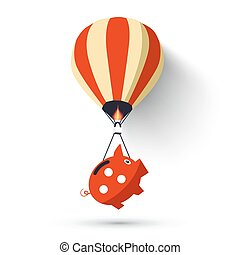 porcin, balloon, chaud, banque, air