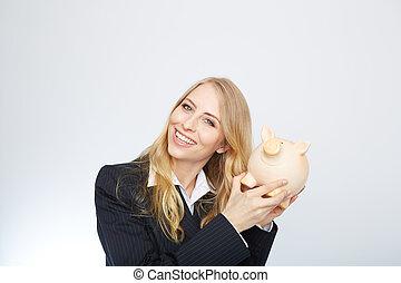 porcin, bank., tenue, femme affaires