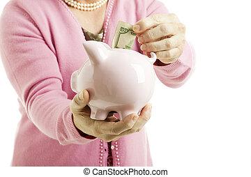 porcin, banque argent, économie