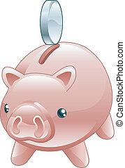 porcin, brillant, mignon, caisse épargne