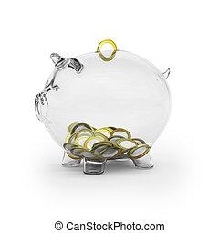 porcin, verre, euro, banque, pièces
