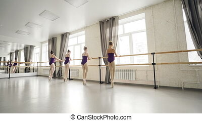 porcja, balet, pilny, taniec, kontrola, tancerze, znowu, chodzi na palcach, feet, ich, nauczyciel, students., barre, dzierżawa, wykonuje, położenie, dzieci