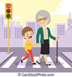 porcja, chłopiec, babcia, crosswalking