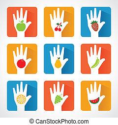 porcja, ikony, owoc, siła robocza