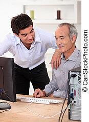 porcja, komputer, ojciec, syn