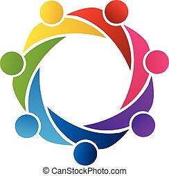 porcja, logo, wektor, teamwork, ludzie