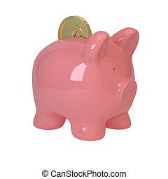 porco côr-de-rosa, e, moedas
