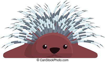 Porcupine resting icon, cartoon style