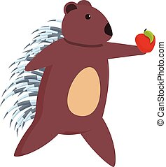 Porcupine take red apple icon, cartoon style