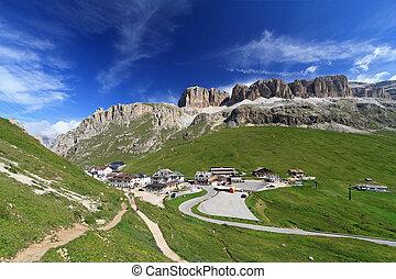 Pordoi pass and mountain