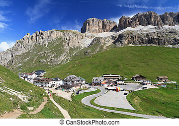 Pordoi pass between Arabba and Canazei, Italian Dolomites