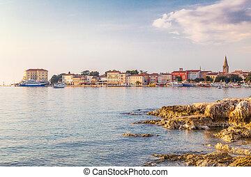 Porec town and harbor on Adriatic sea in Croatia, Europe.