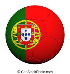 Porgutal Flag Pattern 3d rendering of a soccer ball