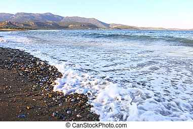 landscape of Pori beach Lakonia Peloponnese Greece