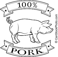 Pork 100 percent label