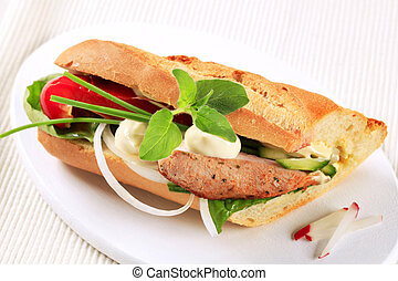 Pork and vegetable sandwich