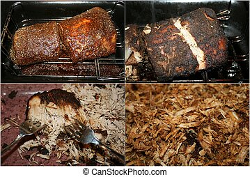 Pork BBQ Collage:CloseUps prep/cook
