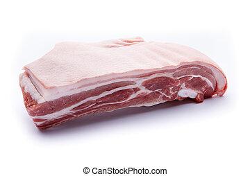 Pork belly on a white background